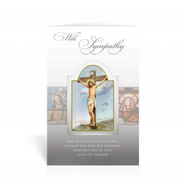 """WJ Hirten """"With Sympathy, May His Never Failing Love Sustain You And His Promises Comfort You In This Hour Of Sorrow"""" Crucifixion Sympathy Card"""