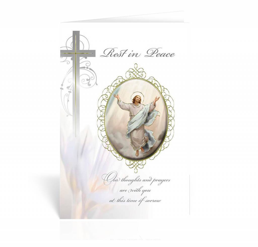 "WJ Hirten ""Rest in Peace"" Resurrected Christ Sympathy Card"