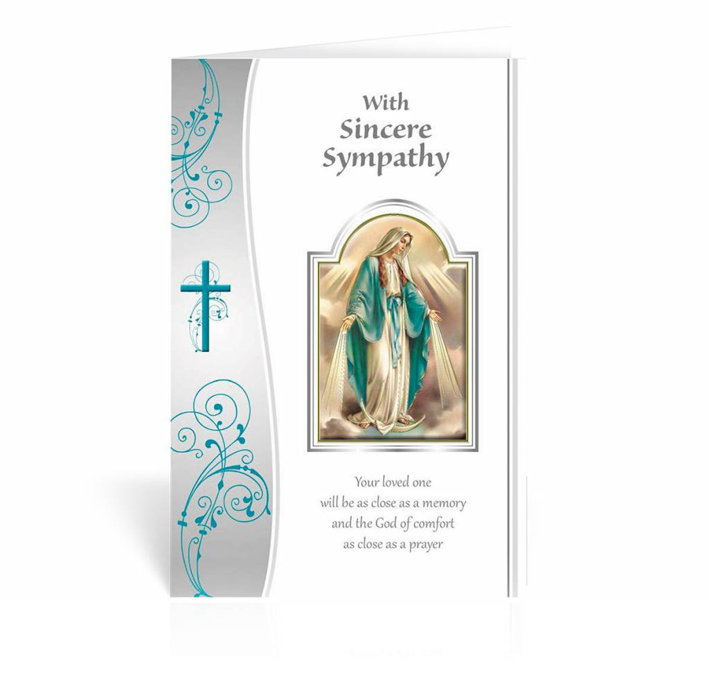 "WJ Hirten ""With Sincere Sympathy, Your loved one will be as close as a memory..."" Our Lady of Grace Sympathy Card"