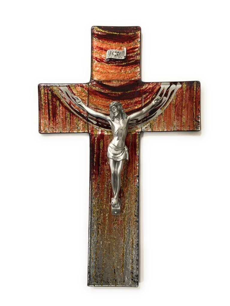 """WJ Hirten 10"""" Stained Glass Sunset Crucifix with Pewter Corpus"""