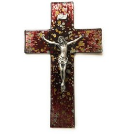 "WJ Hirten 10"" Gold and Silver Speckle on Red Stained Glass Crucifix (Pewter Corpus)"