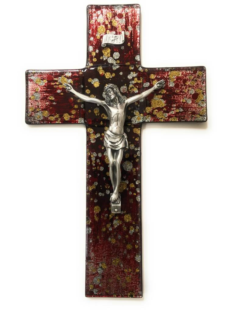 """WJ Hirten 10"""" Gold and Silver Speckle on Red Stained Glass Crucifix (Pewter Corpus)"""