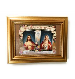 """WJ Hirten 5"""" x 7"""" Sacred Heart of Jesus and the Immaculate Heart of Mary House Blessing"""