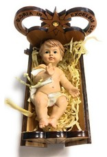 "WJ Hirten 3"" x 2.5"" x 2"" Olive Wood Crib with the Baby Jesus"