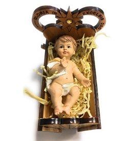 "WJ Hirten 3"" x 2.5"" x 2"" Olive Wood Crib with the Baby Jesus"