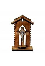 "WJ Hirten 3.5"" St. Benedict Crucifix in Olive Wood Grotto"