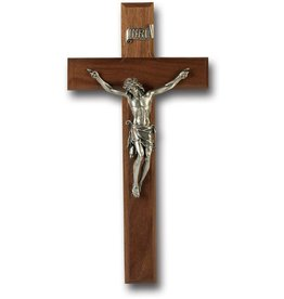 "WJ Hirten 11"" Walnut Crucifix with Pewter Corpus"