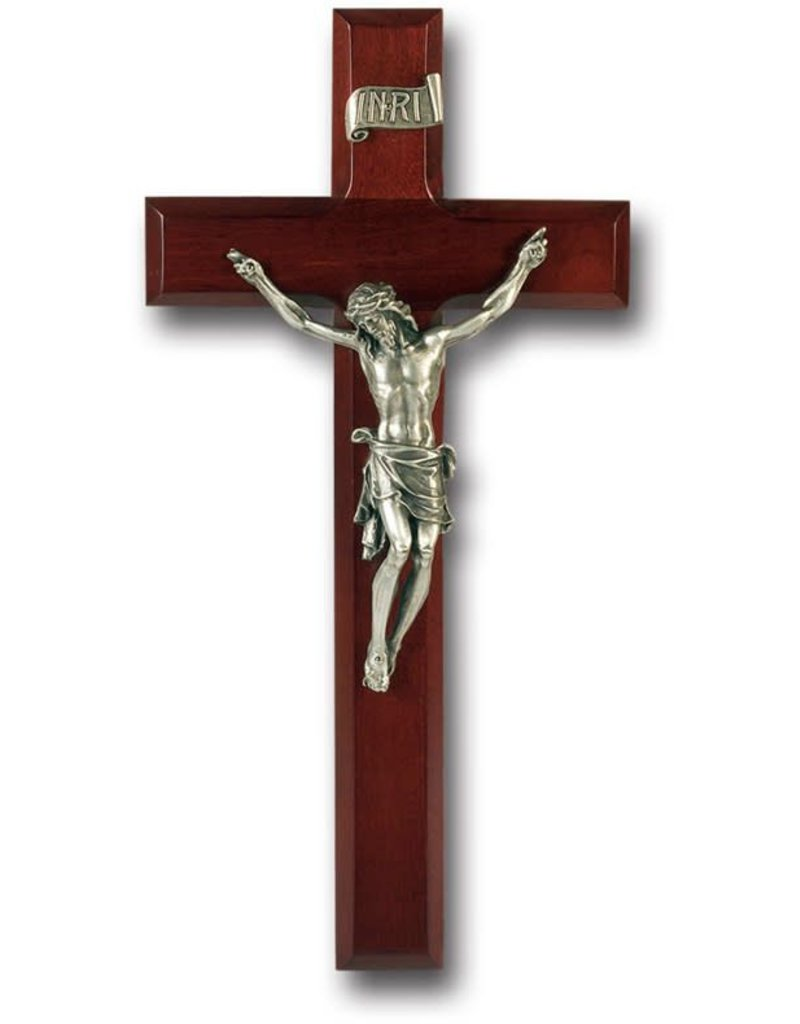 "WJ Hirten 11"" Dark Cherry Crucifix with Pewter Corpus"