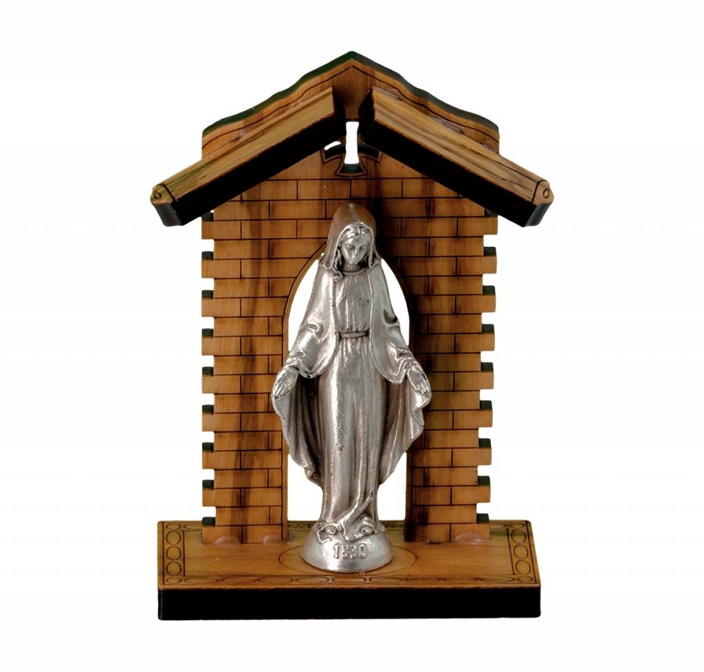 "WJ Hirten 3"" Our Lady of the Miraculous Medal Statue in Olive Wood Grotto"