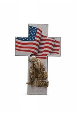 "Napco 14"" Kneeling Soldier with American Flag Resin Cross"