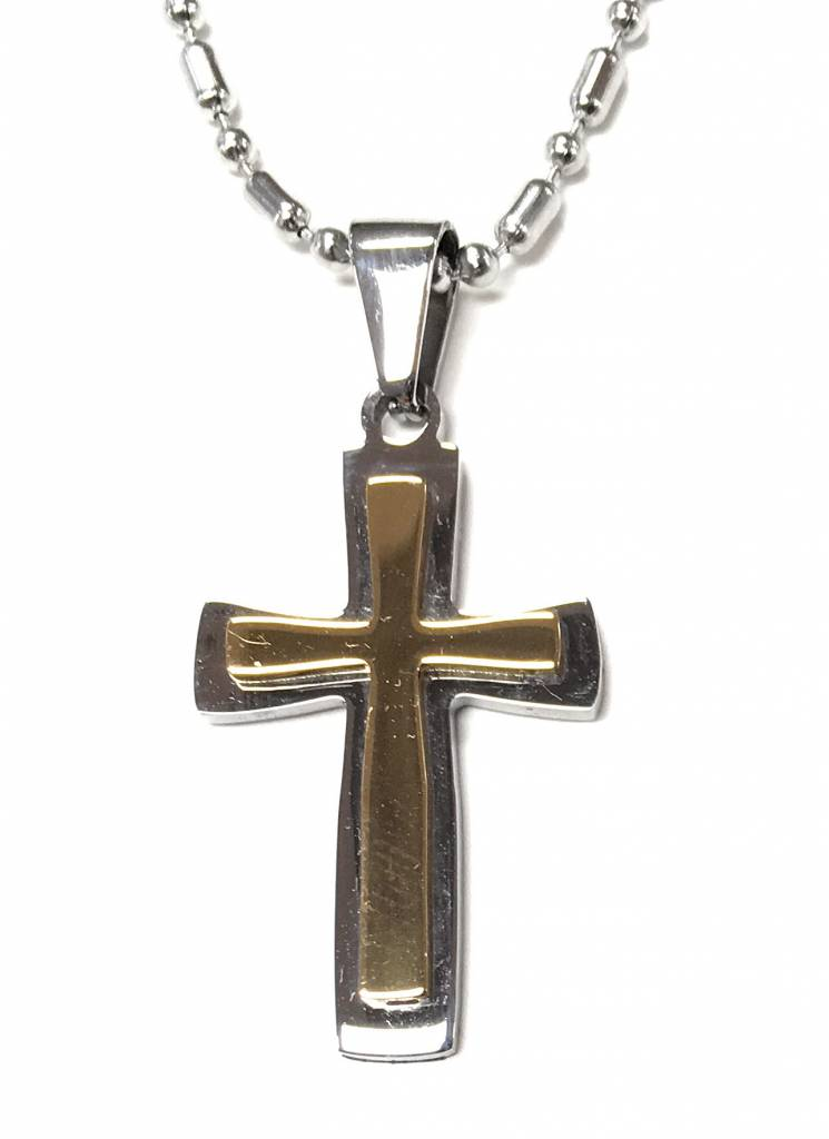 """HJ Sherman Stainless Steel Two Tone Cross with 24"""" Bead-ball Chain"""