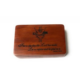 Devon Trading Company Rose Colored Satin Lined Holy Spirit Psalm 118:24 Wooden Keepsake Box