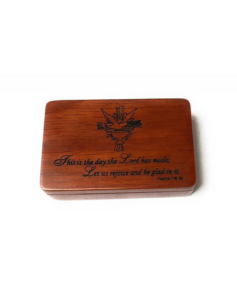 Devon Trading Company Rose Colored Satin Lined Holy Spirit Psalm 118:24 Wooden Keepsake Box