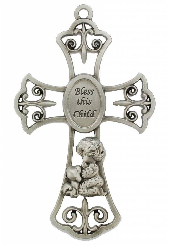 "McVan 6"" Pewter Bless This Child Girl Cross"
