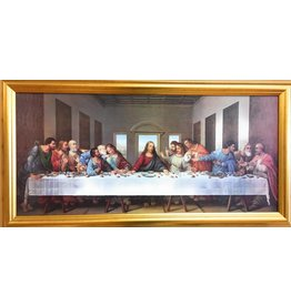 "WJ Hirten 30"" x 14"" DaVinci Last Supper with Antique Gold Finish Frame"