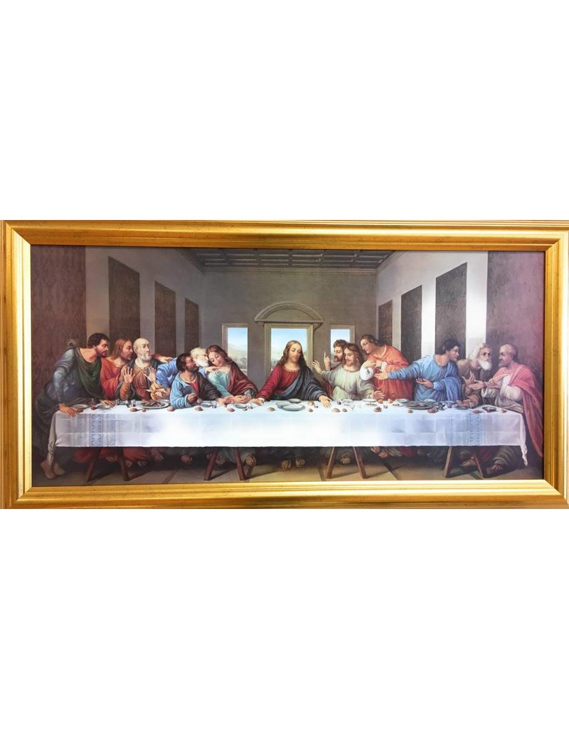 "WJ Hirten 30"" x 14"" DaVinci Last Supper with Antique Gold Finish Frame"