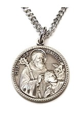 HMH Religious Sterling Silver Saint Benedict Round Medal