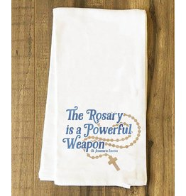 Catholic to the Max The Rosary is a Powerful Weapon Tea Towel