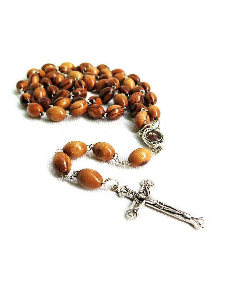 Wallace Brothers Manufacturing Olivewood Rosary with Jerusalem Soil Centerpiece
