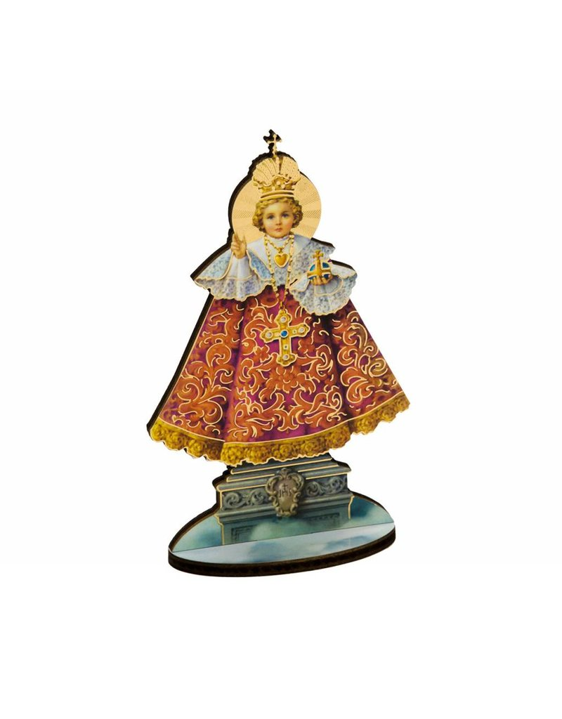 "WJ Hirten 6"" Standing Wooden Statue Plaque  Our Lady of Grace"