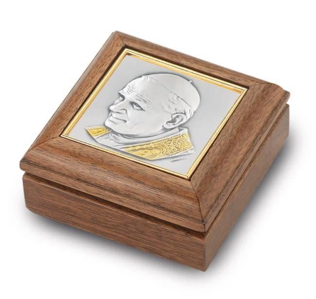 HMH Religious Genuine Walnut John Paul II Keepsake Box