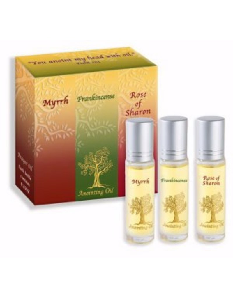 Abba Anointing Oils: Frankincense, Myrrh, and Rose of Sharon (Set of Three Vials, One of Each Type)