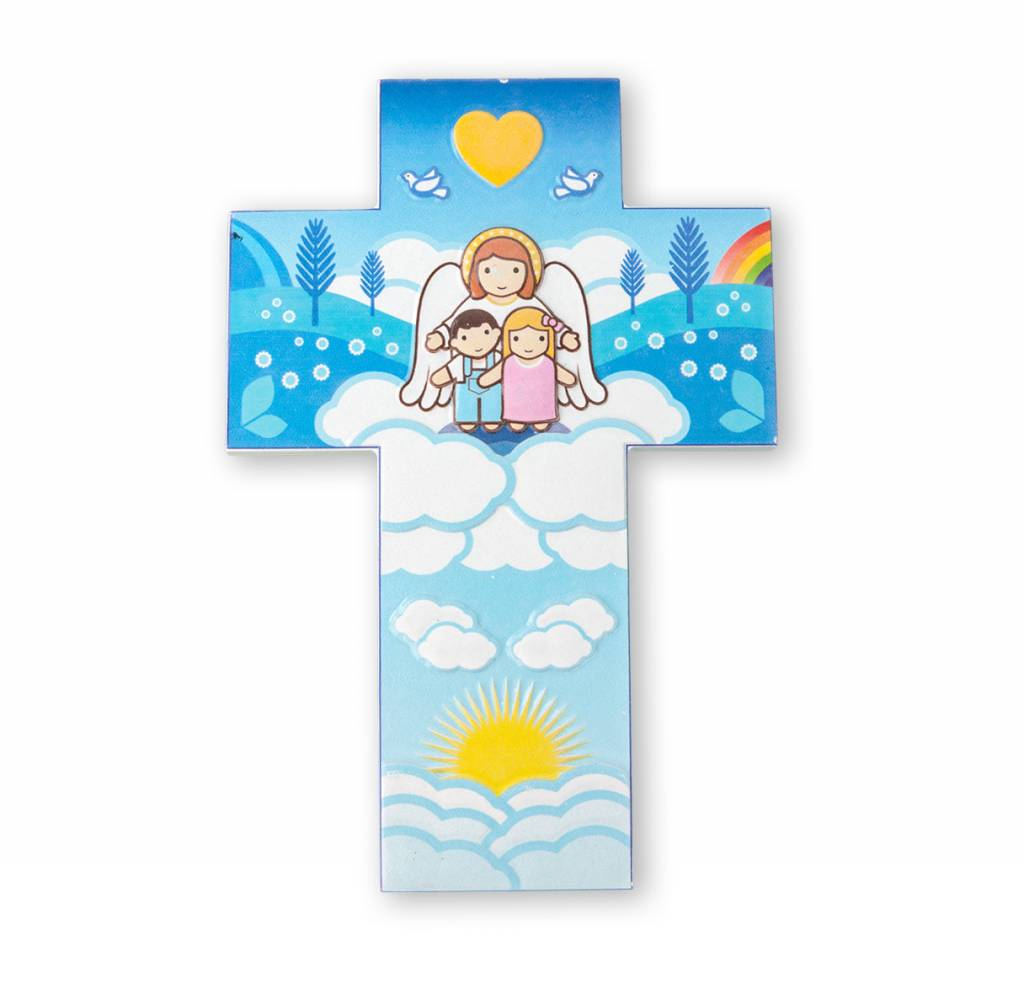 Little Drops of Water Childrens Wall Cross Guardian Angel and Children 3D