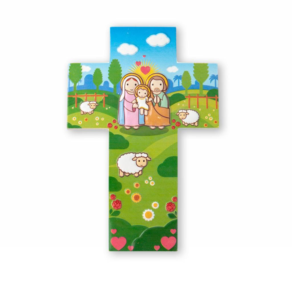 Little Drops of Water Childrens Wall Cross Holy Family Joseph Mary Jesus 3D