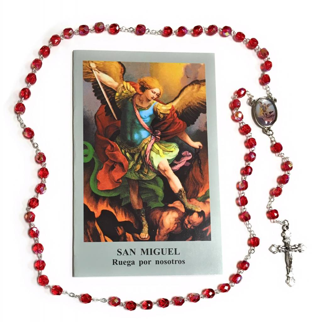 Wallace Brothers Manufacturing St. Michael Photo Rosary with Large Spanish Prayer Card