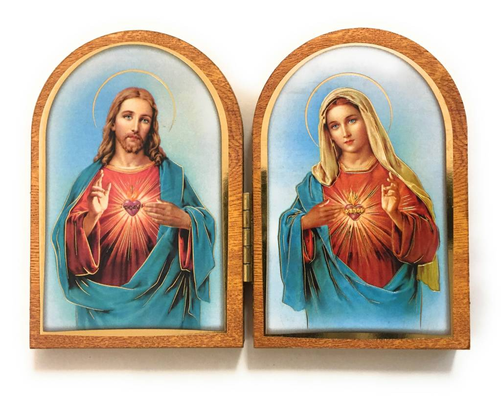 """WJ Hirten 5"""" x 3.5"""" Sacred Heart of Jesus and Immaculate Heart of Mary Wooden Diptych"""