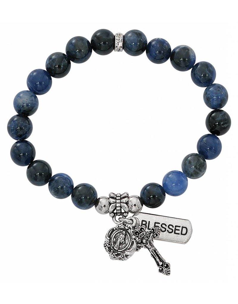 McVan Blue Lapis Stretch Rosary Bracelet