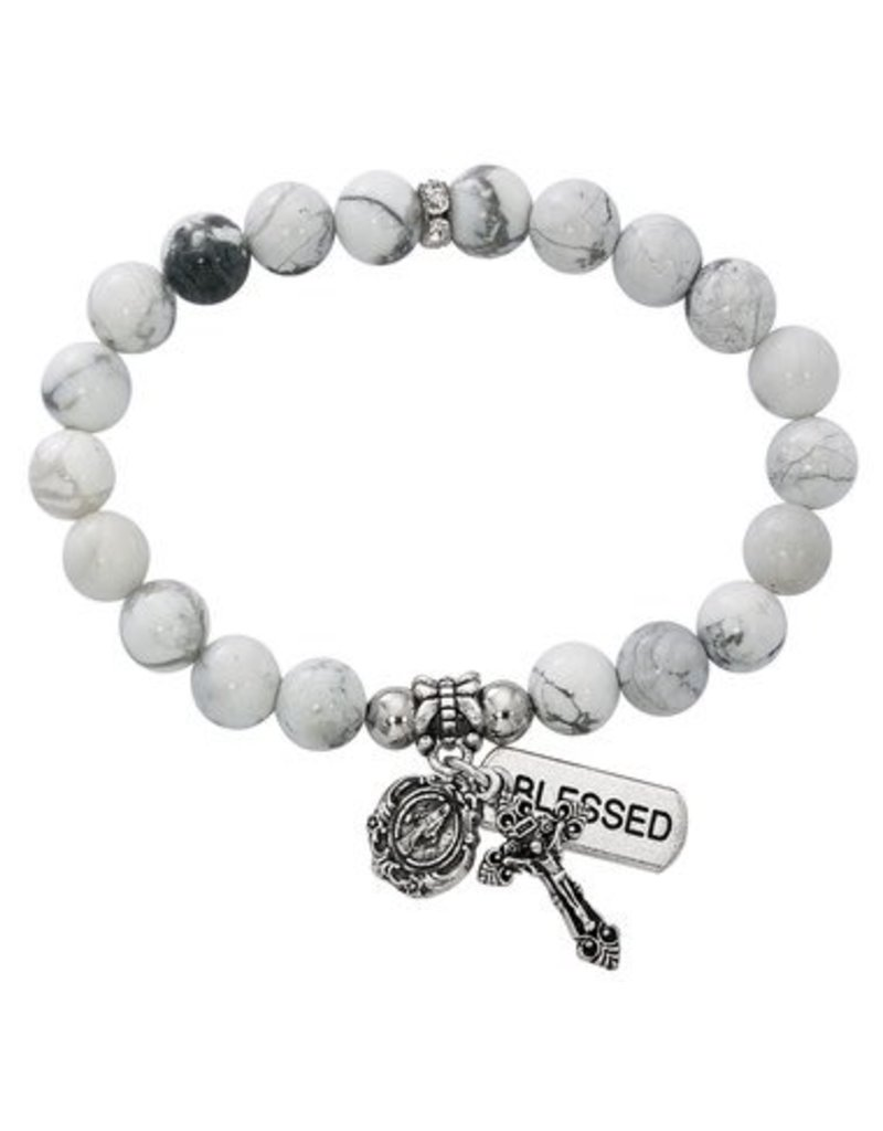 McVan Howolite Stretch Rosary Bracelet
