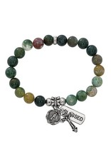 McVan India Jasper Bead Stretch Rosary Bracelet With Miraculous Medal and Crucifix