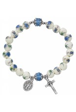McVan Blue Ceramic Stretch Rosary Bracelet With Miraculous Medal and Crucifix