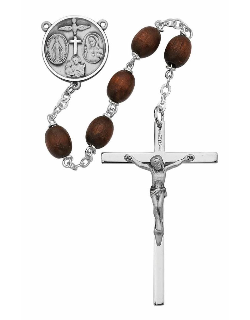 McVan Brown Wood Rosary with Sterling Silver Crucifix and Centerpiece