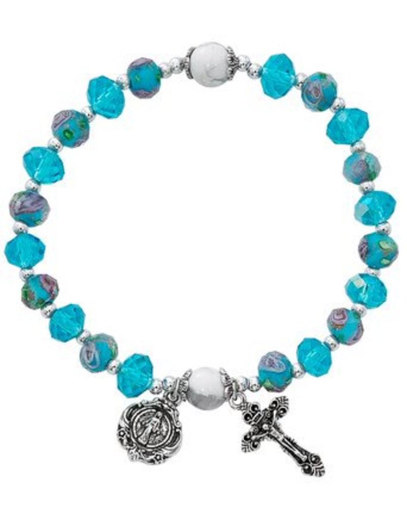McVan Aqua Flower Crystal Stretch Bracelet
