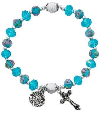 McVan Aqua Flower Crystal Stretch Bracelet