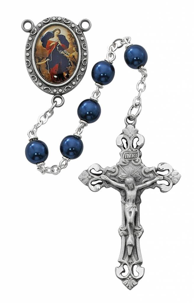 McVan 7mm Blue Pearl Rosary with Our Lady Undoer of Knots Photo Centerpiece