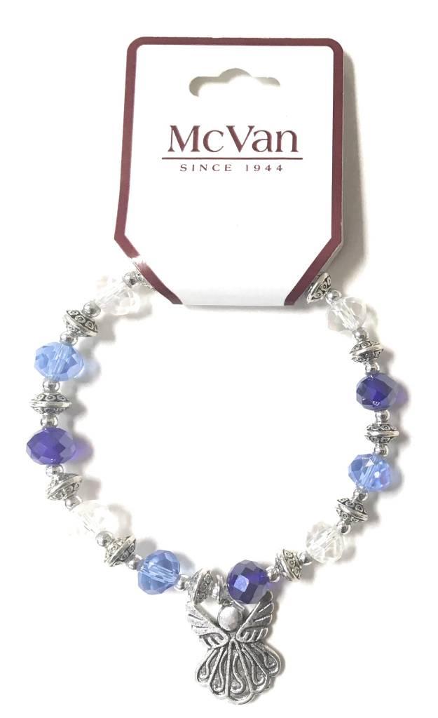 McVan Blue & Crystal Angels Pendant Stretch Bracelet