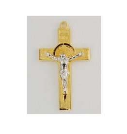 "McVan 18kt Gold Over Sterling St. Benedict Crucifix with 18"" Gold Plated Brass Chain Necklace"