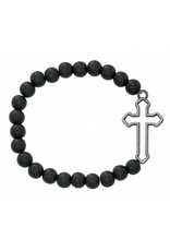 McVan Black Matt 8mm Bead Stretch Bracelet With Christian Cross