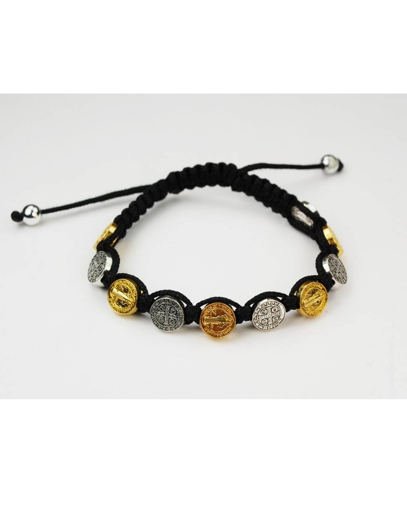 McVan Black Cord with Gold and Silver St. Benedict Medals Bracelet