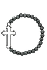 McVan 6mm Boys Hematite Cross Stretch Bracelet