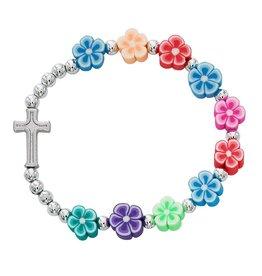 McVan Multi-Color Flower Christian Cross Hawaiian Stretch Bracelet for Girls