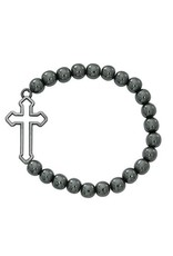 McVan 8mm Hematite Cross Stretch Bracelet With Christian Cross