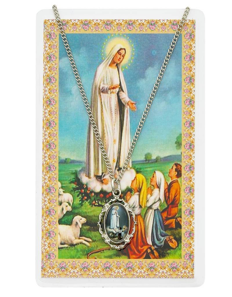McVan Our Lady of Fatima Photo Pendant Necklace with Prayer Card