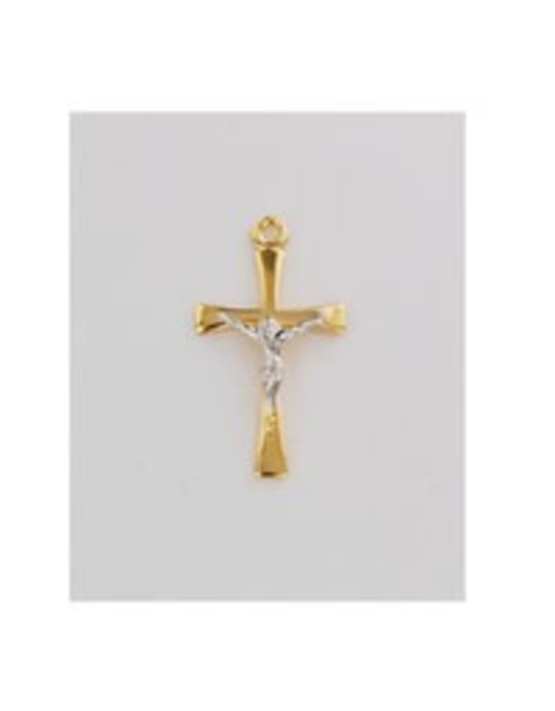 """McVan 18kt Gold Over Sterling Silver Crucifix Pendant With 18"""" Chain Necklace"""