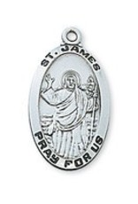 """McVan Sterling Silver Saint James Medal on 24"""" Chain Necklace"""