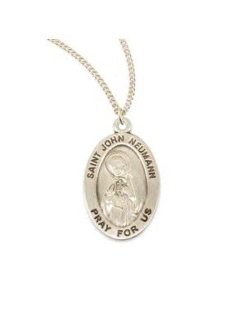 "HMH Religious Sterling Silver Saint John Neumann Medal on 20"" Chain Necklace"