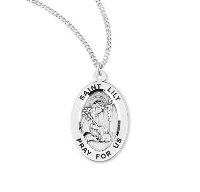 """HMH Religious Sterling Silver St. Lily Medal-Pendant on 18"""" Chain Necklace"""